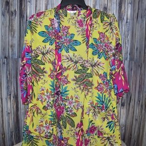 Time and Tru Women's Kimono Floral Cover Up New M